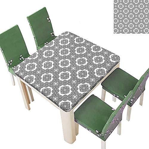 Printsonne 100% Polyester Tablecloth Diag al Symmetrical Binding Celtic Cross Motif Retro sy Black White Resistant and Waterproof 50 x 50 Inch (Elastic Edge)
