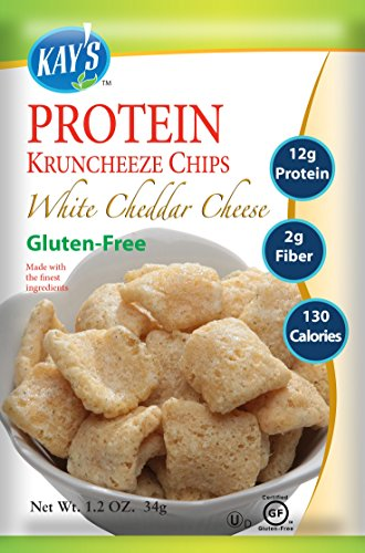 Kay's Naturals Protein Kruncheeze, White Cheddar Cheese, Gluten-Free, Low Carbs, Low Fat, Diabetes Friendly All Natural Flavorings, 1.2 Ounce (Pack of 60)