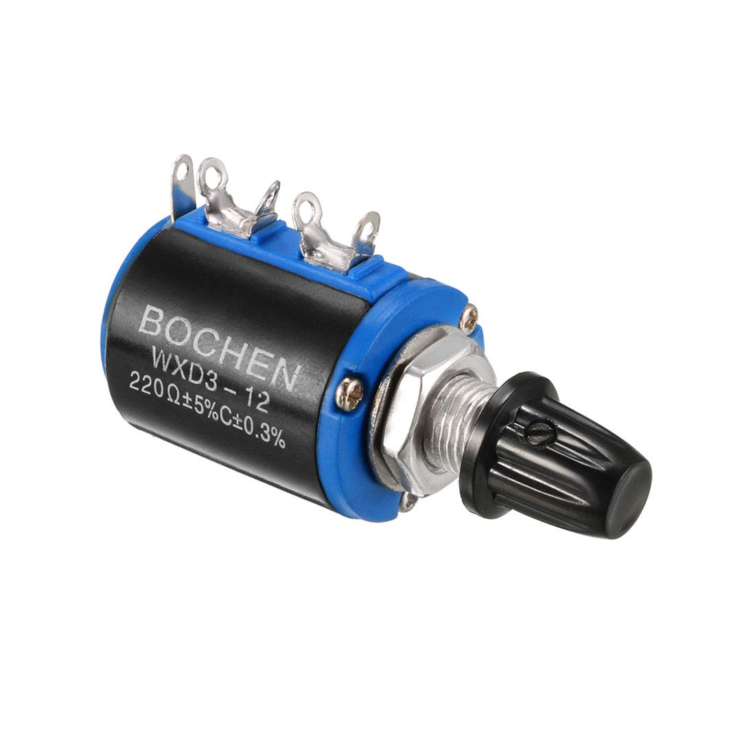sourcing map 2.2K Ohm//1W Potentiometer Pots Adjustable Resistors Wire Wound Multi Turn Precision with knobs 1pcs
