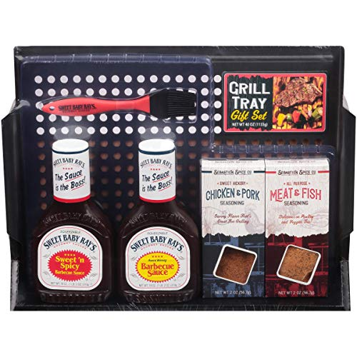 Sweet Baby Ray's Grill Tray, 6 Piece Gift - Gift Sauce Set Bbq