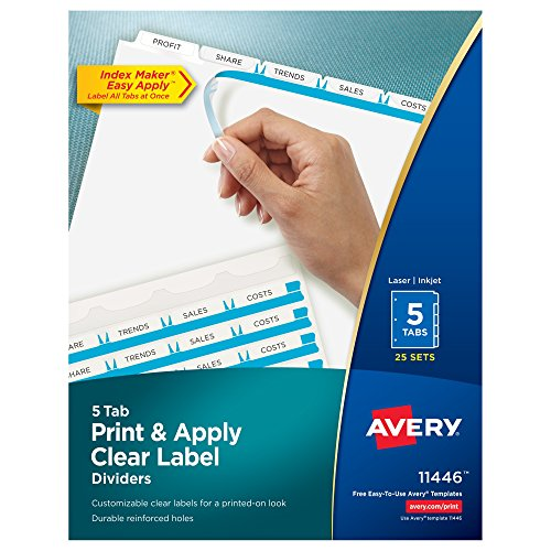 Avery Print & Apply Clear Label Dividers, Index Maker Easy Apply Printable Label Strip, 5 White Tabs, 25 Sets (11446)