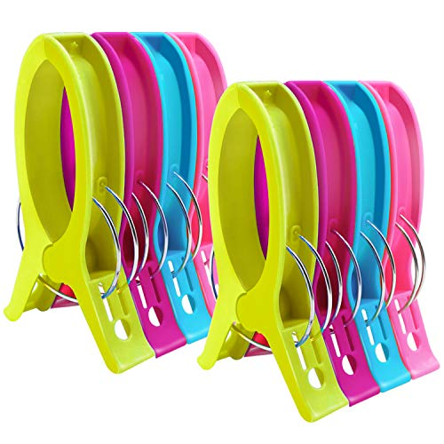 HiGift 8 Pack Beach Towel Clips for Beach Chairs Cruise Chair,Jumbo Size Cruise Chair Towel Clips On Lounge Chairs Lawn Chair Pool Chairs in Bright Color-Keep Your Towel from Blowing Away-6.3 Inch