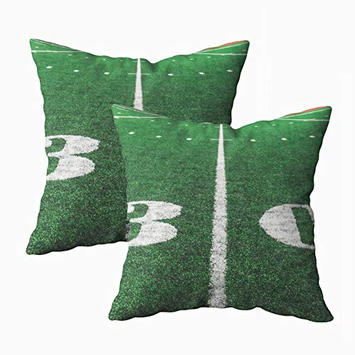 GROOTEY Art Pillow Case, Square Pillow Covers with Zip Couch Sofa Décor Yard Line American Football Field 18X18Inch 2PCS Throw Cushion