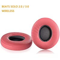 Beats Solo 2.0 / 3.0 Replacement Earpads, JARMOR Memory Foam Ear Cushion Cover for Beats Solo 2.0 / 3.0 Wireless On Ear Headphones ONLY, Pink & Grey