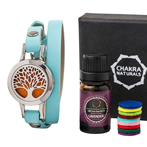Aromatherapy Diffuser Leather Bracelet, Double Wrap, Tree of Life Locket, Free 10ml Lavender Essential Oils Bottle, Therapeutic Anxiety Bracelet - Essential Oil Diffuser Bracelet - Woman Gift Box