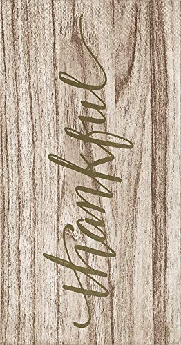 Thankful Woodgrain Guest Towels Holiday Thanksgiving Party Paper Napkins PK 32 by Elise
