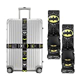 Dolopow Adjustable Luggage Straps, Heavy Duty Suitcase Straps Belt Accessories for Travel Luggage (2Pack) (Batman)