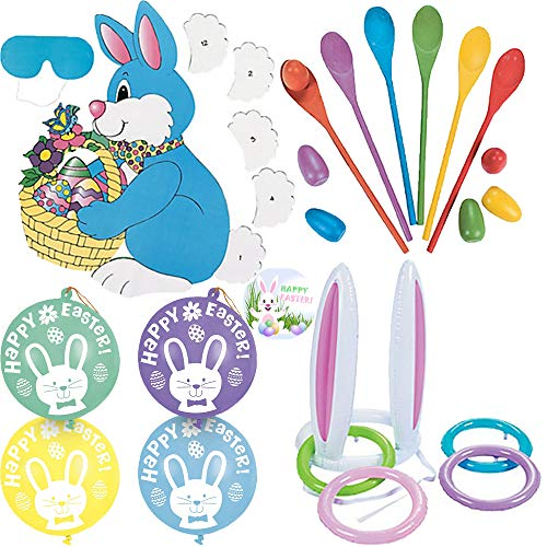 Easter and Sunday School Activity and 4 Game Party Pack Fun For All Ages With Pin The Tail on The Bunny, Punch Balloons, Spoon Egg Game, Inflatable Bunny Ear Ring Toss, and Exclusive Happy Easter Pin