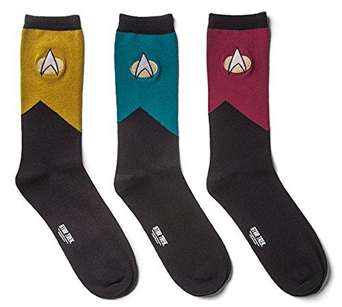 Star Trek Next Generation Uniform Multi Pack Mens Socks 3 Pack (Star Trek Enterprise Uniform)