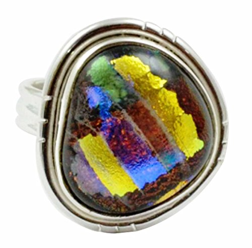 - Lovegem Genuine Dichroic Glass Ring 925 Sterling Silver,Size:5.5, AR3023