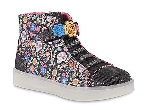 Disney Girls Coco Black Skulls High-Top Light-Up Sneaker (1 Youth)