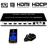 HDMI Switch Splitter Audio Extractor 4K x 2K HDMI/MHL 5x1 with IR Wireless Remote Control and Power Adapter Full HD 1080P