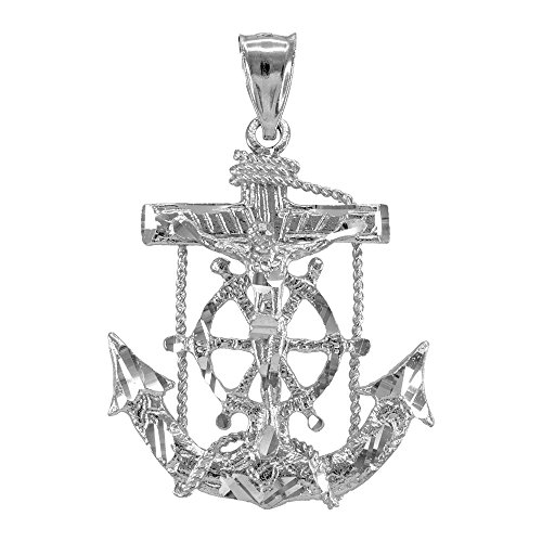 Men's Fine Jewelry 925 Sterling Silver Mariner Crucifix Anchor Cross Pendant