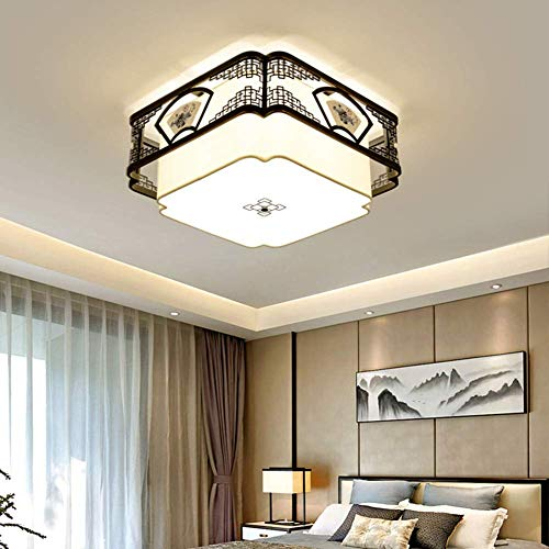 BOSSLV E27 Ceiling Light, Led Retro Square Chinese Style Creative Ceiling Lamp for Office Parlor Chandelier-5-Lights 5027Cm