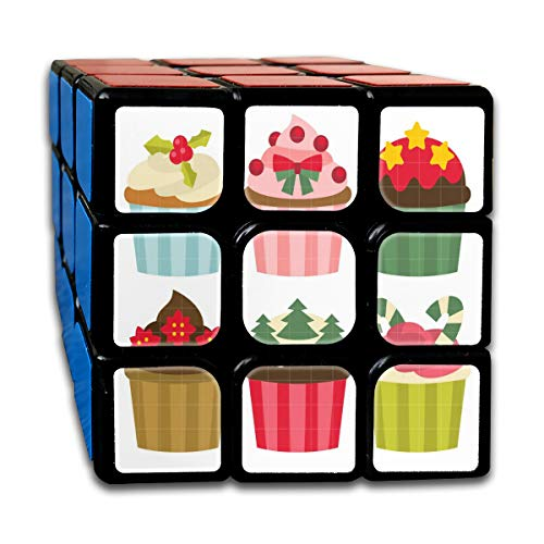 Christmas Cupcakes Art Set Custom Personalized Speed Cube 3x3 Smooth Magic Square Puzzle Game Black]()