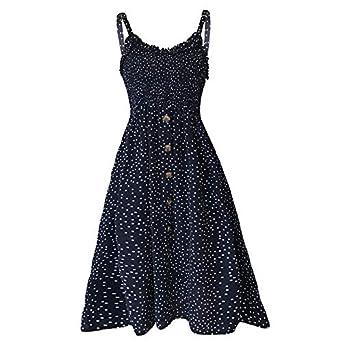 Womens Bardot Button Through A-Line Midi Strappy Dress Women Summer Print Dress Strappy Ruffled Sleeveless Polka Dots Slim Fit Long Dress