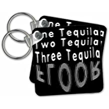 3dRose Taiche - Tee Shirt - Alcohol Humor - Blurred Vision One Tequila Two Tequila Three Tequila FLOOR Black - Key Chains