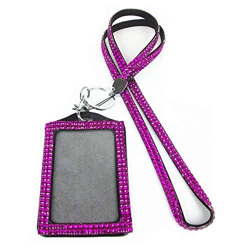 Badge Custom - Rhinestone Bling Crystal Custom Lanyard Vertical Id Badge Holder Rose Purple - Custom Holder Badges Customized Badge Patch Rose Bling Lanyard Custom Button Badge Holder Chai ()