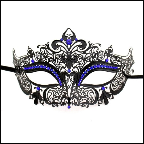 Luxury Mask Women's Laser Cut Metal Venetian Crown Mask , Black/Blue Stones, One - Crown Venetian