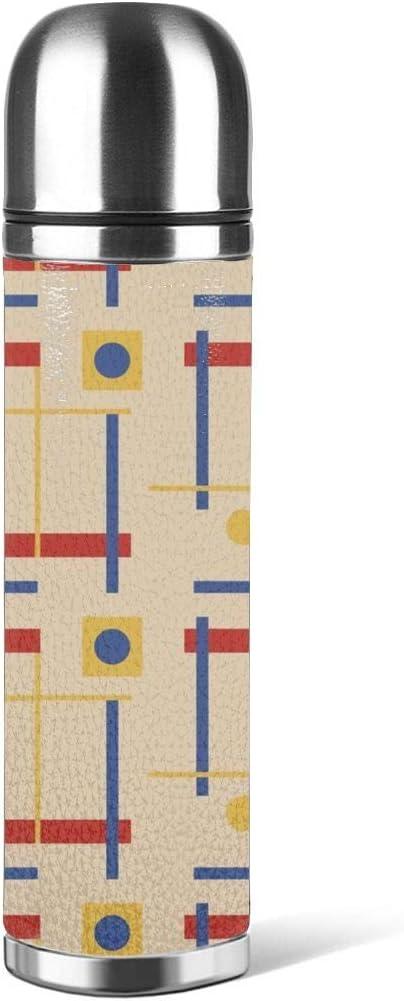 Art Fan-Design - Botella de Agua de Acero Inoxidable con diseño de Abanico A Nod To Bauhaus Circle Aislado al vacío de Cuero a Prueba de Fugas Doble Pared contenedor de Viaje Termo de 500 ml