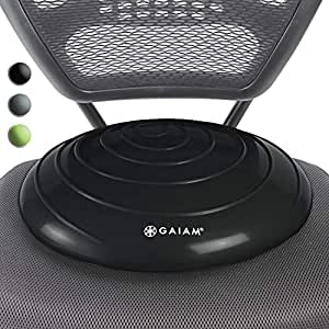 Gaiam Balance Disc Wobble Cushion Stability Core Trainer for Home or Office Desk Chair & Kids Alternative Classroom Sensory Wiggle Seat, Disc, 05-63286, Black