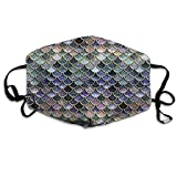XPEACH Teal, Silver and Pink Sparkle Faux Glitter Mermaid Scales Washable Reusable Masks Respirator Comfy Protective Breath Healthy Safety Warm Windpro of Mask