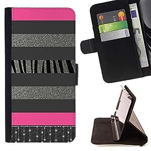 LINES GLITTER PATTERN ZEBRA SILVER PINK/ Personalizada del estilo del dise???¡Ào de la PU Caso de encargo del cuero del tir????n del soporte d - Cao - For Samsung Galaxy S3 III I9300