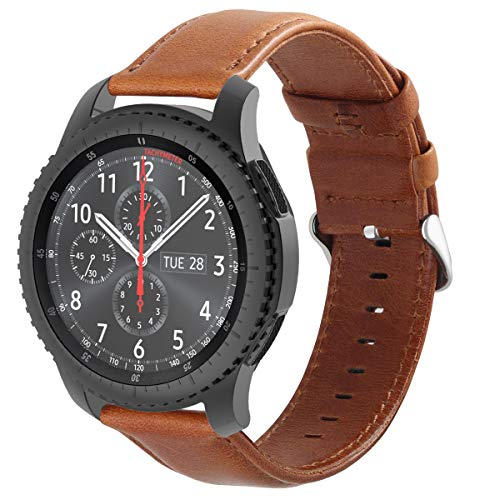 Genuine Leather Replacement Strap Compatible for Samsung Galaxy Watch 46mm/ TicWatch Pro/Gear S3 Frontier/Gear s3 Classic/Amazfit Stratos Smart Watch – Large, Brown ()