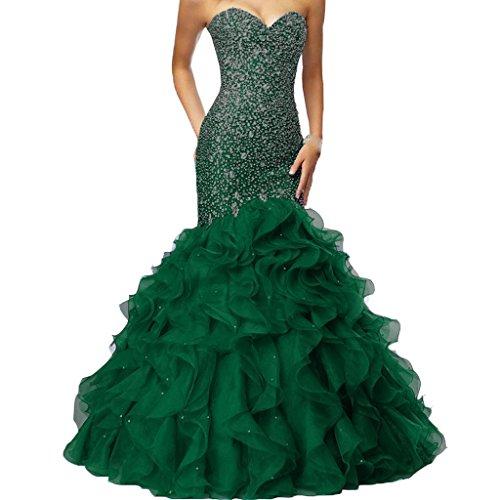 - Crystals Long Mermaid Ruffles Beaded Sweetheart Corset Formal Prom Evening Dresses Dark Green US 16W