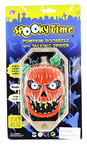 Halloween Spooky Pumpkin Doorbell w/ Talking Spider - Black + Khaki + Reddish Orange (3 x AA)]()