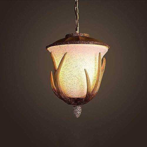 IBalody Creative Vintage Loft Pine Cone Chandelier American Country Living Room Hanging Lamp Restaurant Bar Resin Suspension Lighting Fixture Single Head E14 Kitchen Droplight
