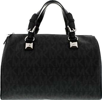 Michael Kors Grayson Large Satchel Handbag in Black PVC