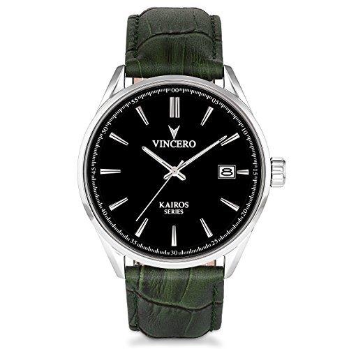 Vincero The Kairos Dial Leather Strap Men's Watch BLA-OLI-K10