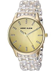Anne Klein Womens AK/2616CLGB Glitter Accented Gold-Tone and Clear Transparent Resin Bracelet Watch