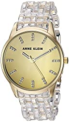Anne Klein Women's AK/2616CLGB Glitter Accented Gold-Tone and Clear Transparent Resin Bracelet Watch