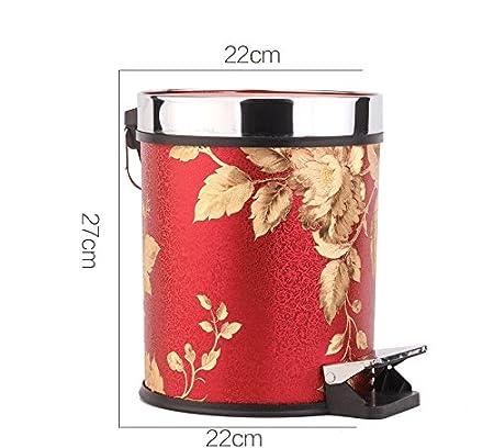 LIUXIN Cocina Creativa del hogar pie ba/ño Papelera de Basura sat/én Rojo de Moda de Cuero Size : Small