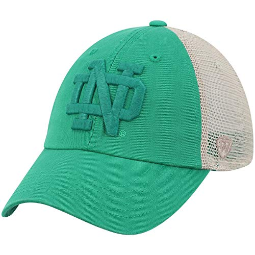 (Top of the World Notre Dame Fighting Irish Tow Green St. Patrick's Day Tan Mesh Adj Relax Hat Cap)