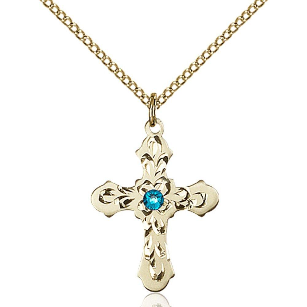 Bonyak Jewelry ゴールドフィルドクロスペンダント 3mm12月ブルースワロフスキークリスタル 7/8 x 5/8インチ ゴールドフィルドライトカーブチェーン付き   B00PMMARUY