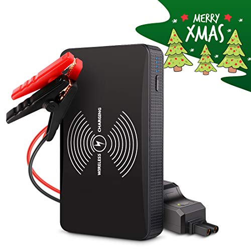 Pushidun 400A 6000mAh Portable Car Jump Starter (up to 2.5L Gas), Auto Battery Booster, Potable Phone Wireless Charger, LED Flashlight with 3 ()