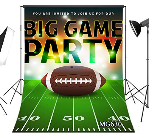 LB American Football Super Bowl Backdrop for Photography 5x7ft Sports Stadium Green Grass Field Background for Birthday Party Event Photo Booth Backdrop Studio -