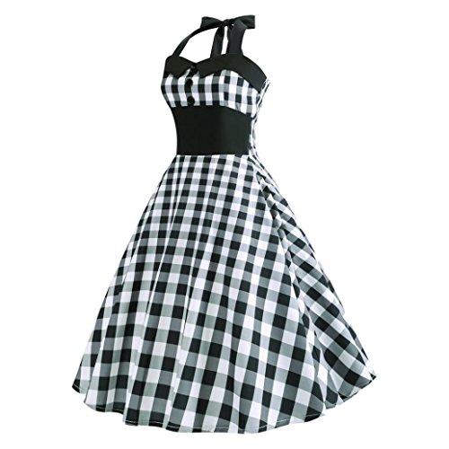 Vintage Plaid Retro Cocktail Prom Dresses 50's 60's Rockabilly Bandage Party Prom Dress (S, Black)