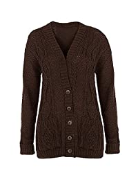 Women Ladies Plus Size Chunky Cable Knit Button Long Sleeve Cardigan