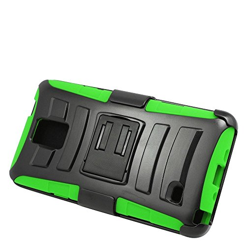 Galaxy Note 4 Case, Insten Dual Layer [Shock Absorbing] Protection Hybrid Stand PC/Silicone Holster Case Cover for Samsung Galaxy Note 4, Black/Green