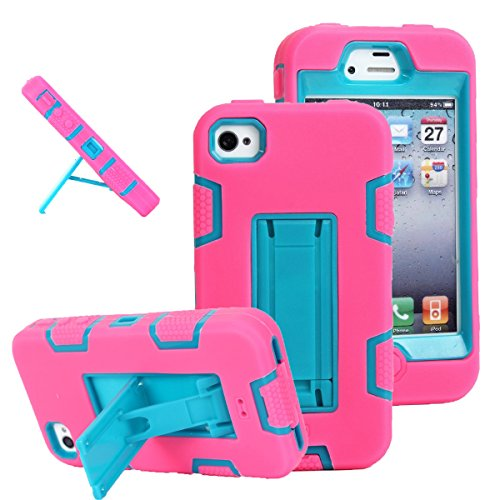 iPhone 4s case, iPhone 4 case, MagicSky Robot Series Hybrid Armored Case with Kickstand for Apple iPhone 4/4S - 1 Pack - Retail Packaging - Blue/Hot Pink (Iphone 4s Case Girls)