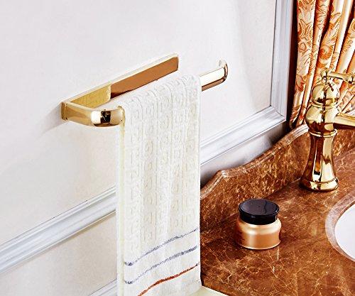 ROSE CREATE Gold Brass Towel Holder, Wall Mounted Towel Rack Bar Hanger, Bathroom Kitchen Rustproof Golden Towel Rail - Gold by ROSE CREATE (Image #6)
