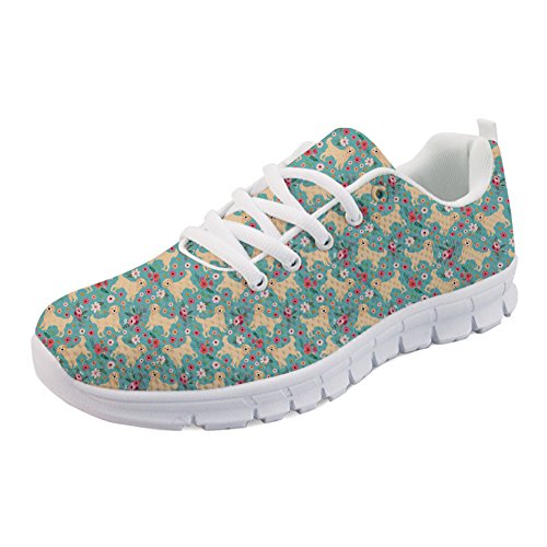 Women Coloranimal Spring Summer Retriever Golden Running Sneakers Flower Shoes Sports Flat Walking for w6YagYxAq