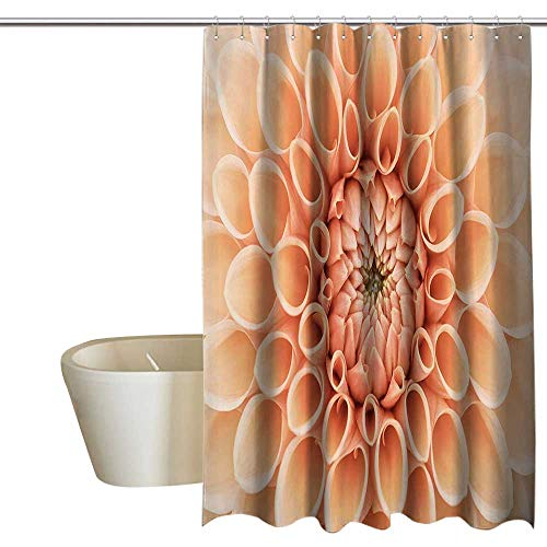 Dahlia Petals Punch - Suchashome Abstract Home Decor Collection Punch-Free Shower Curtain Dahlia Petals Flowerhead Autumn Flower Blooming Botanical Parks Nature Image Print Rustproof Metal Grommets 55