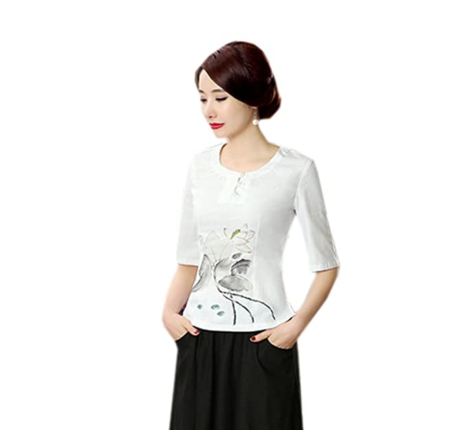 YueLian Mujeres Elegante Casual Estilo Chino Lino Cuello Redondo Manga 3/4 Loto Saco Top