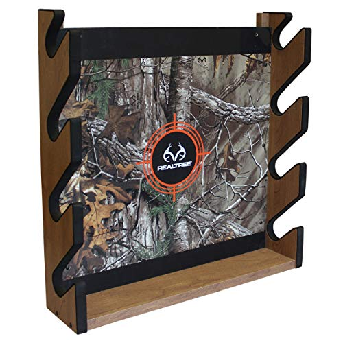 Rush Creek Creations Real tree Camo 4 Gun Wall Storage Rack - 5 Minute Assembly - Extra Storage for Accessories