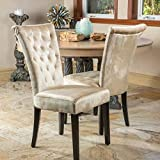 Venetian Tufted Dining Chairs (Set of 2) by Christopher Knight Home(Champagne Velvet)